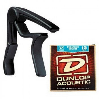 Каподастр Dunlop 83CBA 12 AC Trigger Acoustic Capo Plus Strings