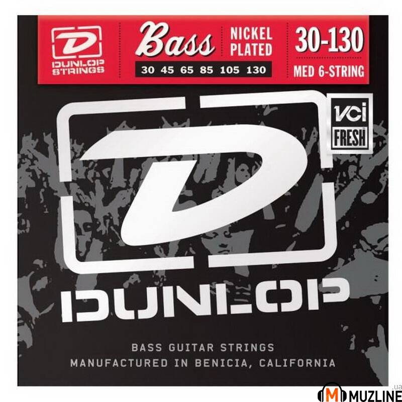 Струны для бас-гитары Dunlop DBN30130 Nickel Plated Steel Medium 6 String 30-130