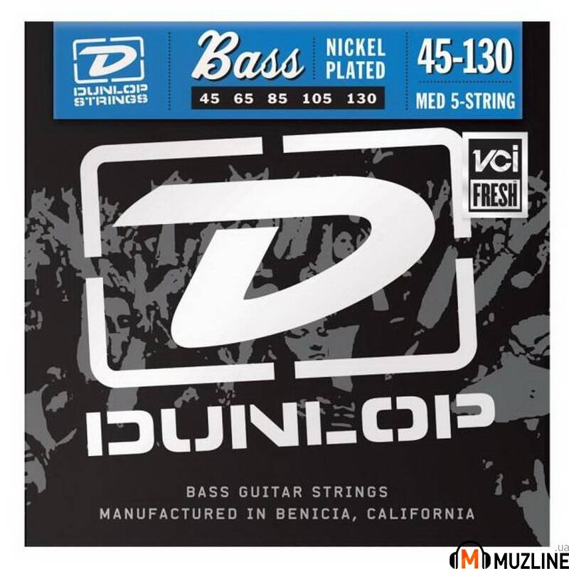 Струны для бас-гитары Dunlop DBN45130 Nickel Plated Steel Medium 5 String 45-130