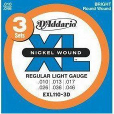 Струны для электрогитары D'Addario EXL110-3D Xl Regular Light 3 Set