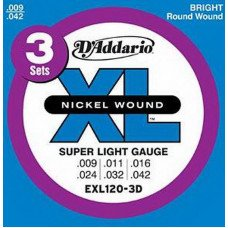 Струны для электрогитары D'Addario EXL120-3D Xl Super Light 09-42 - 3 Set