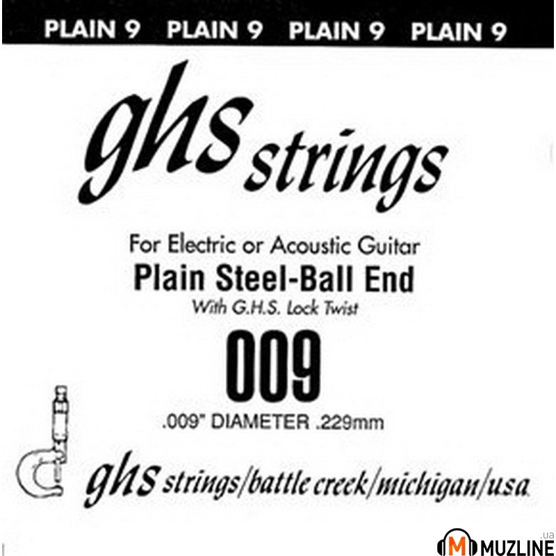 Струны для электрогитары GHS Strings 009 Single Plain Ballend