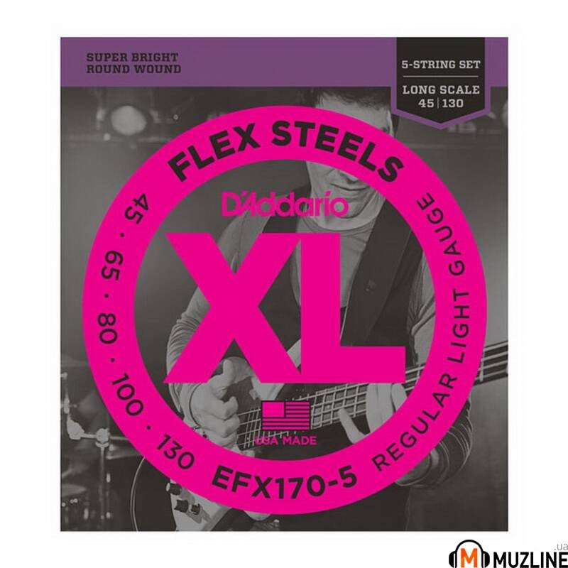 Струны для бас-гитары D'Addario EFX170-5 XL Flex Steels Light 5 String 45-130