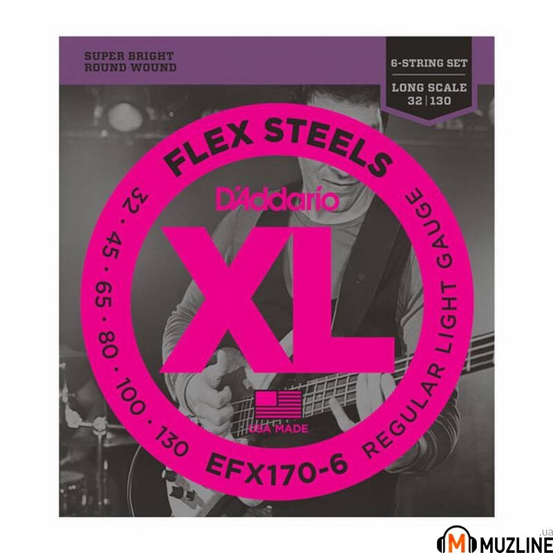Струны для бас-гитары D'Addario EFX170-6 Flex Steels Light 6 String 32-130