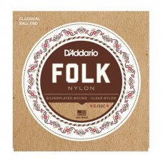 Струны для классической гитары D'Addario EJ32C Folk Nylon Ball End Silver Wound Clear Treble