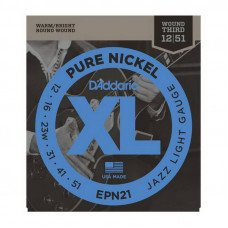 Струны для электрогитары D'Addario EPN21 Xl Pure Nickel Jazz Light 12-51