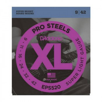 Струны для электрогитары D'Addario EPS520 Xl Pro Steels Super Light 09-42