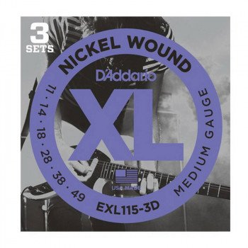 Струны для электрогитары D'Addario EXL115-3D Xl Blues Jazz Rock 11-49 - 3 Set