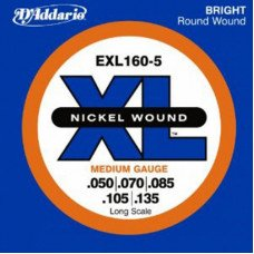 Струны для бас-гитары D'Addario EXL160-5 XL Medium 5 String 50-135