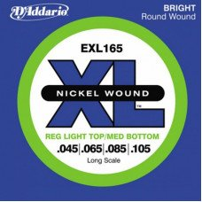 Струны для бас-гитары D'Addario EXL165 XL Reg Light Top Med Bottom 45-105