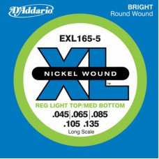 Струны для бас-гитары D'Addario EXL165-5 XL Reg Light Top Med Bottom 5 String 45-135