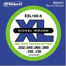 Струны для бас-гитары D'Addario EXL165-6 XL Reg Light Top Med Bottom 6 String 32-135