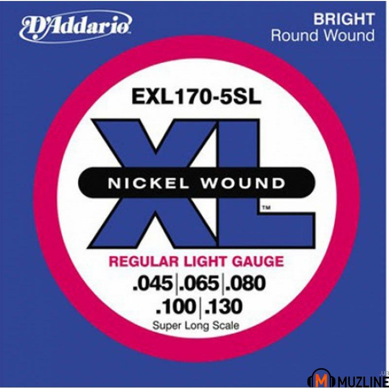 Струны для бас-гитары D'Addario EXL170-5SL XL Regular Light 5 String 45-130