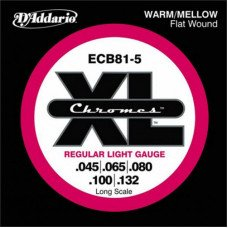 Струны для бас-гитары D'Addario ECB81-5 XL Chromes Flatwound Bass 5 45-132