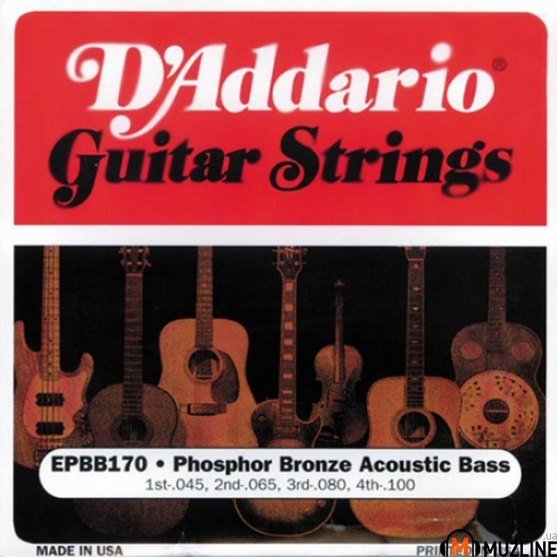 Струны для бас-гитары D'Addario EPBB170 Acoustic Bass Phosphor Bronze 4 String