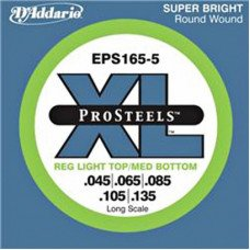Струны для бас-гитары D'Addario EPS165-5 XL Pro Steels Reg Light Top Med Bottom 45-135