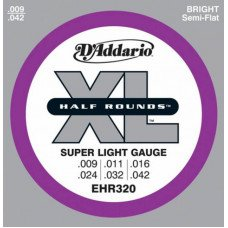 Струны для электрогитары D'Addario EHR320 Xl Half Rounds Super Light 09-42