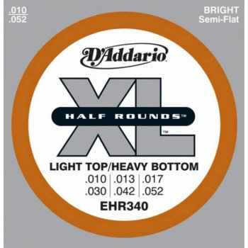 Струны для электрогитары D'Addario EHR340 Xl Half Rounds Light Top Heavy Bottom 10-52