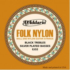 Струны для классической гитары D'Addario EJ32 Folk Nylon Ball End Silver Wound Black Treble