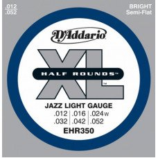 Струны для электрогитары D'Addario EHR350 Xl Half Rounds Jazz Light 12-52