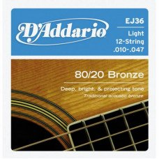 D'Addario EJ36 80/20 Bronze Light 12-String 10-47