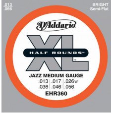 Струны для электрогитары D'Addario EHR360 Xl Half Rounds Jazz Medium 13-56