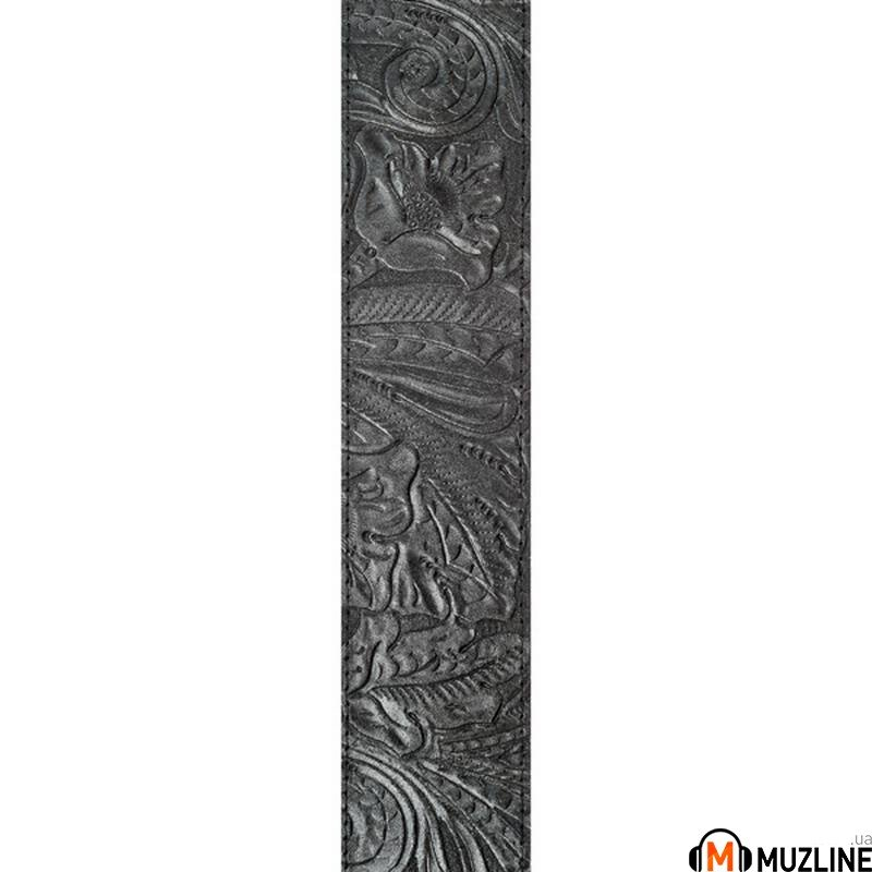 Planet Waves PW25LE00 Embossed Leather Guitar Strap, Black