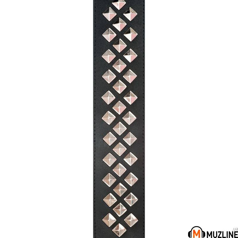 Planet Waves PW25LGS01 Metal Collection Leather Guitar Strap, Diamond Stud