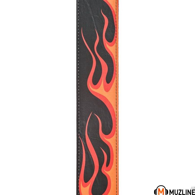 Planet Waves PW25LHR04 Hot Rod Collection Leather Guitar Strap, Flame