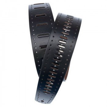 Planet Waves PW25PRF06 Vented Leather Guitar Strap, Black Studs