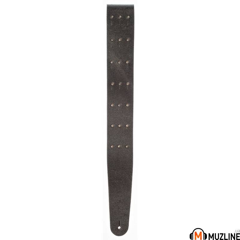 Planet Waves PW25VNRR00DX Blasted Leather Guitar Strap, Black with Brass Rivets