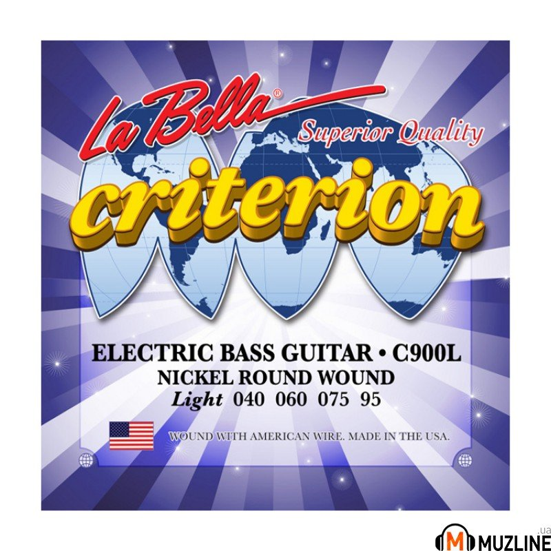 Струны для бас-гитары La Bella C900L Criterion Electric Bass, Nickel-Plated Round Wound – Light