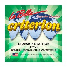 Струны для классической гитары La Bella C750 Criterion Classical Guitar, Clear Nylon, Golden Alloy