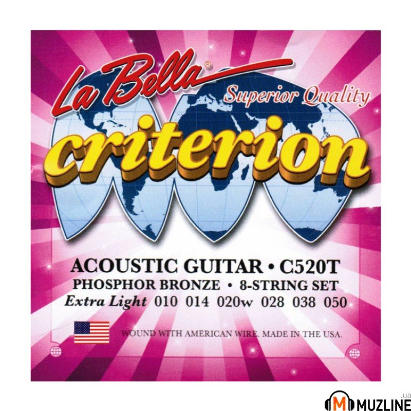 Струны для акустической гитары La Bella C520T Criterion Acoustic Guitar, Phosphor Bronze – Extra Light