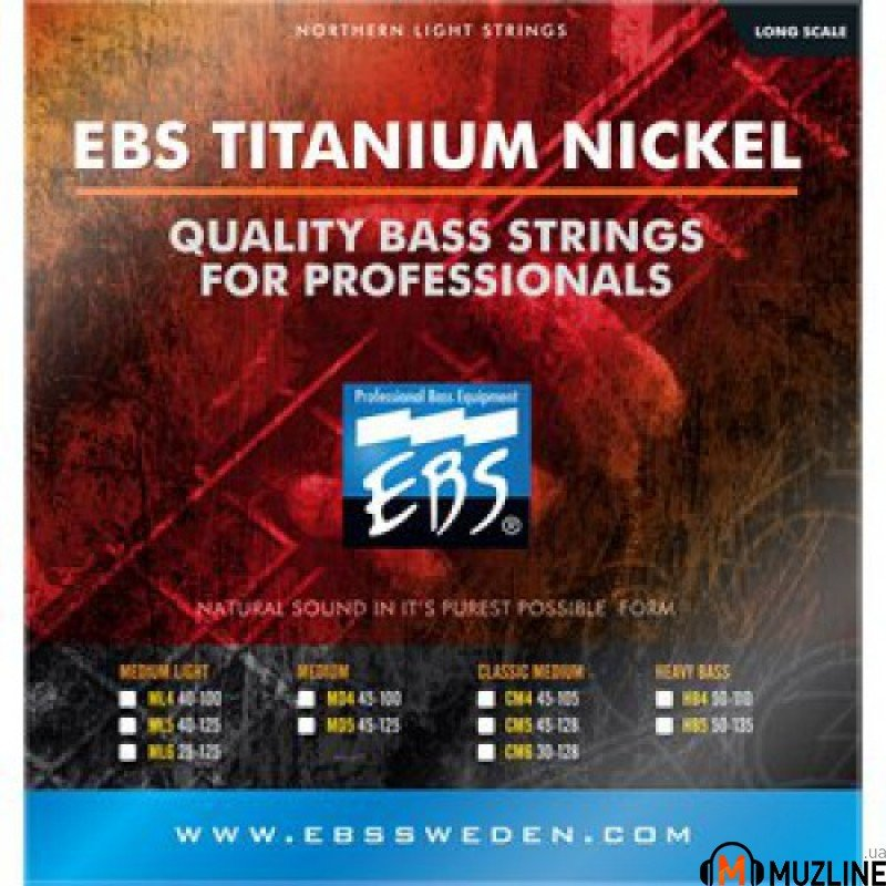 Струны для бас-гитары EBS TN-HB 4-strings (50-110) Titanium Nickel