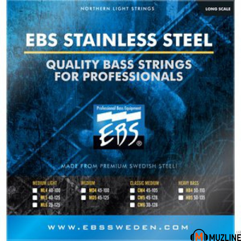 Струны для бас-гитары EBS SS-ML 4-strings (40-100) Stainless Steel